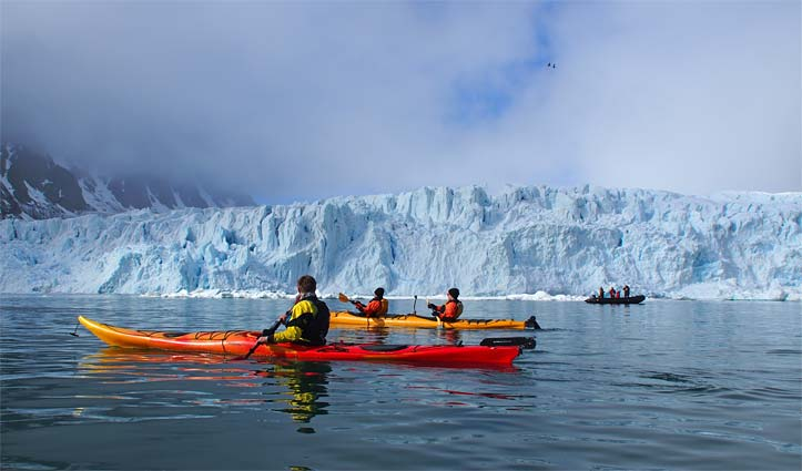 Kayaking Monacobreen Glacier