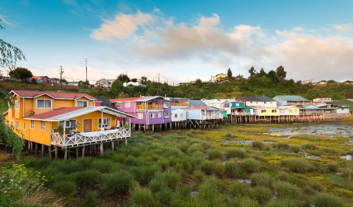 Traditional Stilt houses Palafitos in Castro Chiloe Island Chile