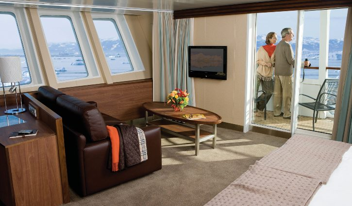 Category 7 suite with balcony aboard National Geographic Explorer.