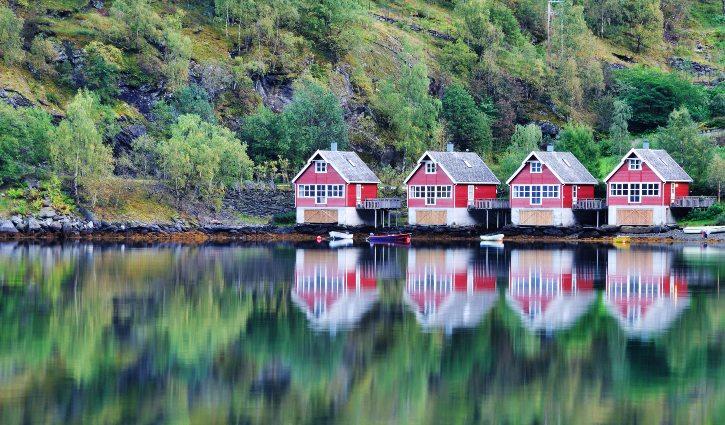 View of Lake and Fishing Huts, Flam, Norway