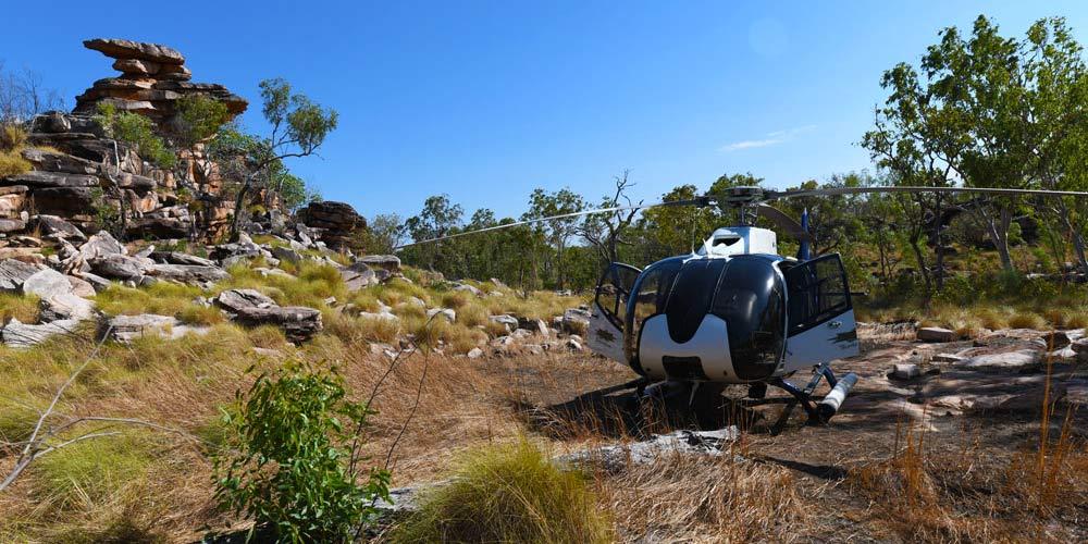 True North Helicopter near Aboriginal Rock Art